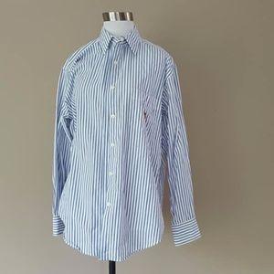 Pinstripe Cotton Shirt Size 12 Ralph Lauren